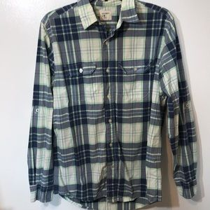 Old Navy Blue/White/ Plaid Button Down Shirt M XC
